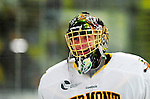 9 January 2011: University of Vermont Catamount goaltender Alex Vazzano, a Freshman from Trumbull, CT, smiles prior to a game against the Boston University Terriers at Gutterson Fieldhouse in Burlington, Vermont. The Catamounts fell to the Terriers 4-2 in Hockey East play. Mandatory Credit: Ed Wolfstein Photo