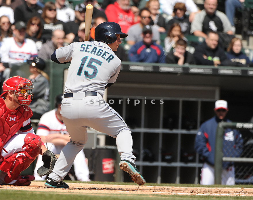 Seattle Mariners Kyle Seager (15) during a game against the Chicago White Sox on April 7, 2013 at US Cellular Field in Chicago, IL. The White Sox beat the Mariners 4-3.