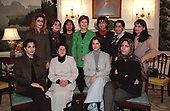 First lady Laura Bush meets with 12 women from Afghanistan at the White House in Washington, DC, Tuesday, November 27, 2001. The women are in Washington this week to meet with senior government officials, participate in a Georgetown University public forum and receive training. Many of them are refugees who fled the Taliban and are now poised to lead again in Afghanistan. The First Lady spoke with them about human rights issues.<br /> Mandatory Credit: Susan Sterner / White House via CNP