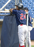 June 7, 2004:  Javon Moran of the Lakewood Blueclaws, Low-A South Atlantic League affiliate of the Philadelphia Phillies, during a game at Classic Park in Eastlake, OH.  Photo by:  Mike Janes/Four Seam Images