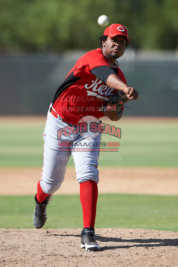 Cincinnati Reds minor league pitcher Jesus Adames #27 during an instructional league game against the Milwaukee Brewers at Maryvale Baseball Park on October 3, 2012 in Phoenix, Arizona.  (Mike Janes/Four Seam Images)