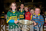 Greeting Sam Maguire on Saturday night in Duagh were Amy O'Connell, Ml O'Connor, Darragh Maher, Oisin Maloney and ml Kirby.