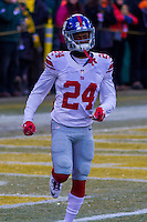 New York Giants cornerback Eli Apple (24) prior to a game against the Green Bay Packers on January 8th, 2017 at Lambeau Field in Green Bay, Wisconsin.  Green Bay defeated New York 38-13. (Brad Krause/Krause Sports Photography)