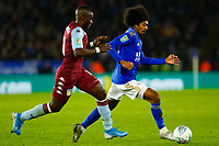 8th January 2020; King Power Stadium, Leicester, Midlands, England; English Football League Cup Football, Carabao Cup, Leicester City versus Aston Villa; Hamza Choudhury of Leicester City takes on Marvelous Nakamba of Aston Villa - Strictly Editorial Use Only. No use with unauthorized audio, video, data, fixture lists, club/league logos or 'live' services. Online in-match use limited to 120 images, no video emulation. No use in betting, games or single club/league/player publications