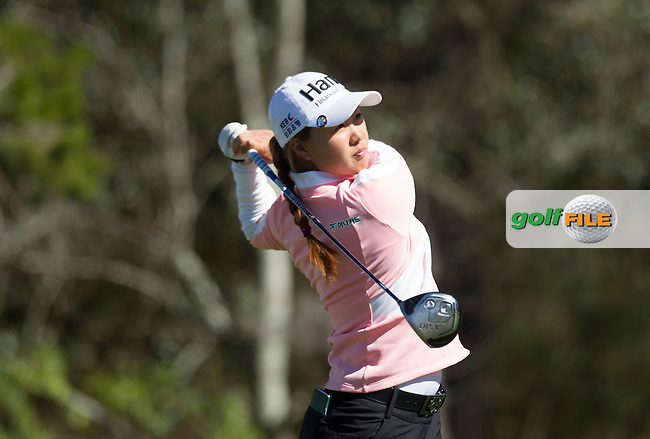 Minjee Lee's tee shot to the green on 17 during the Second day of the Second round of the LPGA Coates Golf Championship 2016 , from the Golden Ocala Golf and Equestrian Club, Ocala, Florida. 5/2/16<br /> Picture: Mark Davison | Golffile<br /> <br /> <br /> All photos usage must carry mandatory copyright credit (&copy; Golffile | Mark Davison)