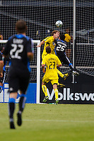 27 MAY 2009: #23 Eric Brunner, Columbus Crew defender, #14 Chad Marshall, Columbus Crew defender and #25 Quincy Amarikwa of the San Jose Earthquakes  in action during the San Jose Earthquakes at Columbus Crew MLS game in Columbus, Ohio on May 27, 2009. The Columbus Crew defeated San Jose 2-1