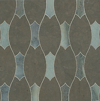 Lana, a stone water jet mosaic, shown in Kay's Green and Montevideo, is part of the Ann Sacks Beau Monde collection sold exclusively at www.annsacks.com