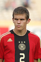 Germany's Sebastian Jung (2) stands on the field before the match against Brazil during the FIFA Under 20 World Cup Quarter-final match at the Cairo International Stadium in Cairo, Egypt, on October 10, 2009. Germany lost 2-1 in overtime play.