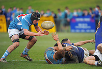 Action from the Weltec Premiership college rugby union match between St Patrick's College Silverstream (sky blue and white) and St Patrick's College Town at St Patrick's College Silverstream, Upper Hutt, Wellington, New Zealand on Wednesday, 22 July 2015. Photo: Dave Lintott / lintottphoto.co.nz