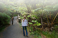 Woman visitors exploring tropical rainforest of Hapu`u Pulu or Fern Tree, Cibotium glaucum, and `Ohi`a Lehuna, Metrosideros polymorpha, Hawaii Volcanoes National Park, Kilauea, Big Island, Hawaii