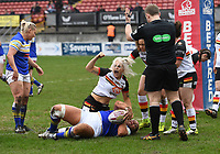 Picture by Anna Gowthorpe/SWpix.com - 15/04/2018 - Rugby League - Womens Super League - Bradford Bulls v Leeds Rhinos - Coral Windows Stadium, Bradford, England - Bradford Bulls' Shona Hoyle celebrates stopping a Leeds Rhinos' try