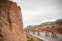 Team Sunweb escorting red jersey (overall leader) Nicolas Roche (IRE/Sunweb) through the stage<br /> <br /> Stage 3: Ibi. Ciudad del Juguete to Alicante (188km)<br /> La Vuelta 2019<br /> <br /> ©kramon