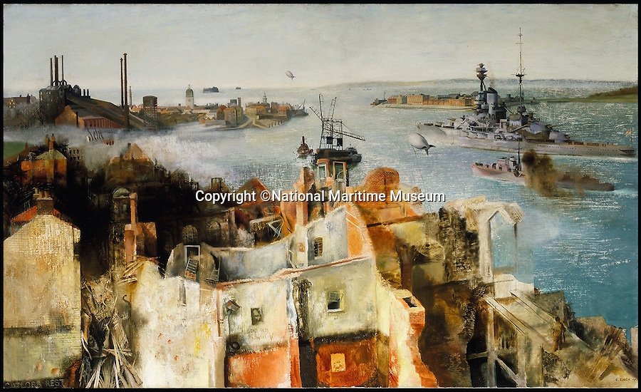BNPS.co.uk (01202 558833)<br /> Pic: NationalMaritimeMuseum/BNPS<br /> <br /> ***Only To Be Used In Connection with Book***<br /> <br /> 'HMS 'Revenge' Leaving Harbour' Richard Ernst Eurich, 1942.<br /> <br /> Poignant 'forgotten' works of art revealing the plight of those who fought at sea in the two world wars have come to light in the first ever book dedicated to the subject.<br /> <br /> Art and the War at Sea features dozens of unseen, 'lost' or little-known paintings and sketches showing the reality of life onboard naval and merchant ships in wartime.<br /> <br /> While countless books have been written about paintings created on Europe's Western Front during conflict, this is the first ever to focus on maritime and naval art from WWI and WWII.<br /> <br /> Art and the War at Sea: 1914-1945 is published by Lund Humphries and costs &pound;40.