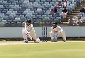November 4th 2017, WACA Ground, Perth Australia; International cricket tour, Western Australia versus England, day 1; England player Mark Stoneman sweeps the ball away