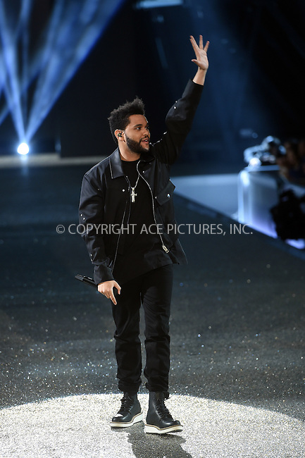 www.acepixs.com<br /> <br /> November 30 2016, New York City<br /> <br /> The Weeknd performs on the runway during the Victoria's Secret Fashion Show on November 30, 2016 in Paris, France.<br /> <br /> By Line: Alain Benainous/ACE Pictures<br /> <br /> <br /> ACE Pictures Inc<br /> Tel: 6467670430<br /> Email: info@acepixs.com<br /> www.acepixs.com