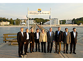 Heiligendamm, Germany - June 7, 2007 -- The G-8 Heads of State and Government pose for a group photo on a sea bridge in Heiligendamm, Germany on Thursday, June 7, 2007.  From left to right: Prime Minister Tony Blair of Great Britain, Prime Minister Romano Prodi of Italy, President Vladimir Putin of Russia, President Nicolas Sarkozy of France, Chancellor Angela Merkel of Germany, United States President George W. Bush, Prime Minister Stephen Harper of Canada, Prime Minister Shinzo Abe of Japan, and European Commission President Jose Manuel Barroso..Mandatory Credit: BPA via CNP