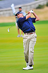 28 August 2009: Matt Kuchar hits his approach shot on 18th hole during the second round of The Barclays PGA Playoffs at Liberty National Golf Course in Jersey City, New Jersey.