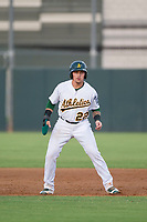 AZL Athletics catcher Skyler Weber (22) takes his lead off of first base against the AZL Reds on July 16, 2017 at Lew Wolff Training Complex in Mesa, Arizona. AZL Athletics defeated the AZL Reds 13-5. (Zachary Lucy/Four Seam Images)