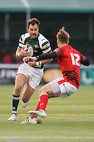 Joe Munro of Ealing Trailfinders looks for a way past Sebastian Jewell of London Welsh during the Greene King IPA Championship match between Ealing Trailfinders and London Welsh RFC at Castle Bar , West Ealing , England  on 26 November 2016. Photo by David Horn / PRiME Media Images