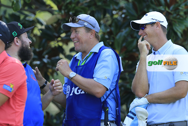 Andrew &quot;Beef&quot; Johnson (ENG) jokes with Nicolas Colsaerts (BEL) and caddy Brian on the 15th tee during Thursday's Round 1 of the 2017 PGA Championship held at Quail Hollow Golf Club, Charlotte, North Carolina, USA. 10th August 2017.<br /> Picture: Eoin Clarke | Golffile<br /> <br /> <br /> All photos usage must carry mandatory copyright credit (&copy; Golffile | Eoin Clarke)