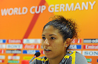 Cristiane of team Brazil at a press conference during the FIFA Women's World Cup at the FIFA Stadium in Dresden, Germany on July 9th, 2011.