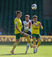Preston North End's Tom Barkhuizen (centre) battles for possession with Norwich City's Przemyslaw Placheta (left) and Max Aarons (right) <br /> <br /> <br /> Photographer David Horton/CameraSport<br /> <br /> The EFL Sky Bet Championship - Norwich City v Preston North End - Saturday 19th September 2020 - Carrow Road - Norwich<br /> <br /> World Copyright © 2020 CameraSport. All rights reserved. 43 Linden Ave. Countesthorpe. Leicester. England. LE8 5PG - Tel: +44 (0) 116 277 4147 - admin@camerasport.com - www.camerasport.com