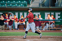 Kyle Kasser (9) of the Idaho Falls Chukars follows through on a swing during a game against the Ogden Raptors at Lindquist Field on August 29, 2018 in Ogden, Utah. Idaho Falls defeated Ogden 15-6. (Stephen Smith/Four Seam Images)