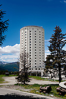 The Posssetto hotel tower in the alpine village Sestrière, built in 1921 as the first tour operator hotel (Italy, 21/06/2010)