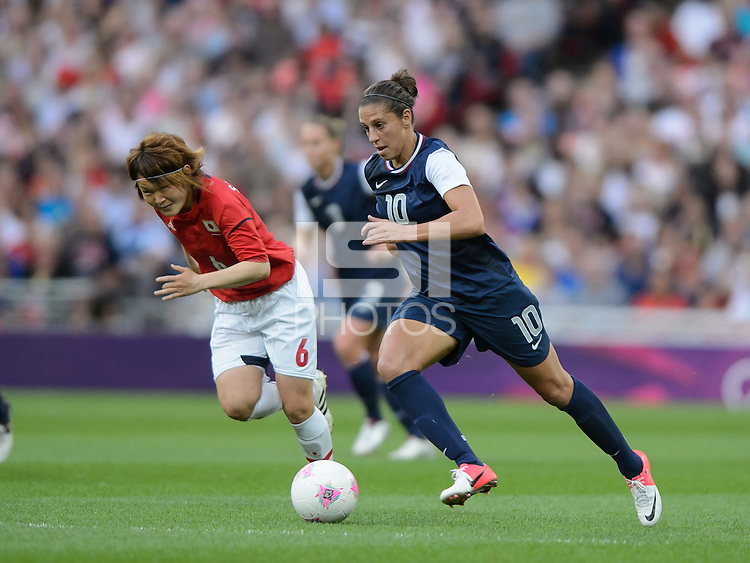 London, England - Thursday, August 9, 2012: The USA defeated Japan 2-1 to win the London 2012 Olympic gold medal at Wembley Stadium. Carli Lloyd dribbles the ball. .