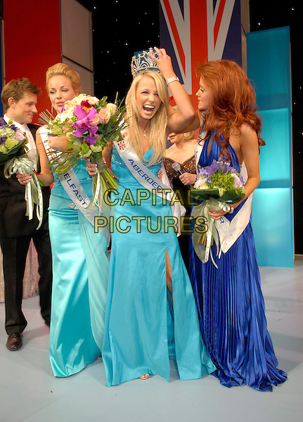 RACHEL TENNANT (Miss Aberdeen) is crowned Miss Great Britain 2007.At the Miss Great Britain 2007 Grand Final,.Grosvenor House Hotel, Park Lane, London, England, .May 21st 2007..full length blue dress winner flowers crown tiara .CAP/FIN.©Steve Finn/Capital Pictures.