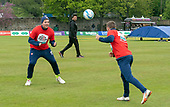 Issued by Cricket Scotland - Scotland V Afghanistan 1st One Day International - Grange CC - weather pic - Mark Watt and Matthew Cross indulge in some head tennis under the watchful eye of Afghan skipper Gulbadin Niab - picture by Donald MacLeod - 08.05.19 - 07702 319 738 - clanmacleod@btinternet.com - www.donald-macleod.com