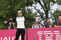 Lydia Ko (NZL) tees off the 5th tee during Friday's Round 2 of The Evian Championship 2018, held at the Evian Resort Golf Club, Evian-les-Bains, France. 14th September 2018.<br /> Picture: Eoin Clarke | Golffile<br /> <br /> <br /> All photos usage must carry mandatory copyright credit (&copy; Golffile | Eoin Clarke)