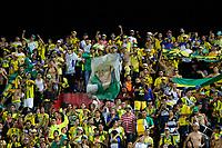 BUCARAMANGA - COLOMBIA, 16-07-2019: Hinchas de Bucaramanga animan a su equipo durante partido por la fecha 1 de la Liga Águila II 2019 entre Atlético Bucaramanga y Deportivo Cali jugado en el estadio Alfonso Lopez de la ciudad de Bucaramanga. / Fans of Atletico Bucaramanga cheer for their team during match for the date 1 of the Liga Aguila II 2019 between Atletico Bucaramanga and Deportivo Cali played at the Alfonso Lopez stadium of Bucaramanga city. Photo: VizzorImage / Oscar Martinez / Cont