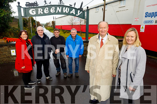 Attending the launch of the new Greenway signs in Rock St on Monday by the Mayor Of Tralee and members of the Municipal District and Tralee Tidy Together.<br /> Front l to r:  Cllr Jim Finucane (Mayor of Tralee) and Jean Foley (Tralee Municipal District Officer).<br /> Back l to r: Michelle Stack (Community Support Fund),Tim Guiheen (Tidy Tralee Together), Brendan O'Brien (Tidy Tralee Together) and Joe Moynihan (Tidy Tralee Together)