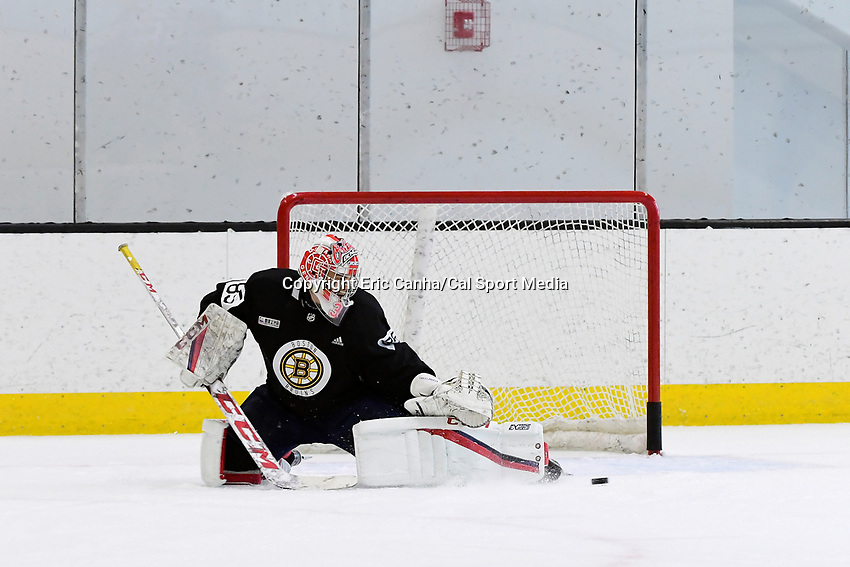 June 28, 2018: Boston Bruins goalie Kyle Kyser (85) works in the net during the Boston Bruins development camp held at Warrior Ice Arena in Brighton Mass. Eric Canha/CSM