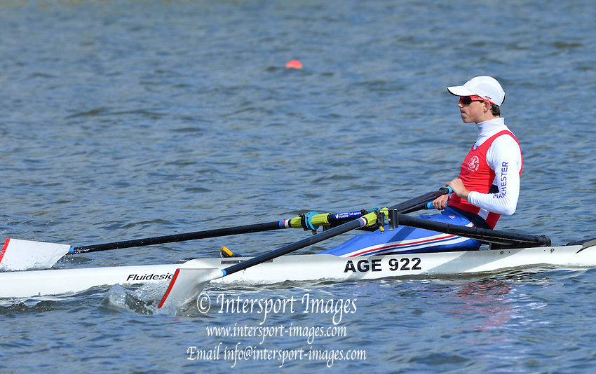 Reading. United Kingdom.  GBR LM1X, Zak LEE-GREEN, in the opening strokes of the morning time trial. 2014 Senior GB Rowing Trails, Redgrave and Pinsent Rowing Lake. Caversham.<br /> <br /> 10:11:30  Saturday  19/04/2014<br /> <br />  [Mandatory Credit: Peter Spurrier/Intersport<br /> Images]
