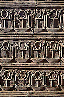 Coptic Christian symbol in Egyptian hieroglyphs, The Temple of Kom-Ombo, near Aswan, Egypt.  Considered one of the most widely recognized symbols other than the cross.  It is a symbol for life or living.