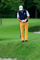 Jon Bevan (Sherbome GC) checking his ball in the bunker face on the 18th during Round 1 of the Titleist &amp; Footjoy PGA Professional Championship at Luttrellstown Castle Golf &amp; Country Club on Tuesday 13th June 2017.<br /> Photo: Golffile / Thos Caffrey.<br /> <br /> All photo usage must carry mandatory copyright credit     (&copy; Golffile | Thos Caffrey)