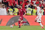 Hasan Al Haydos of Qatar (C) in action during the AFC Asian Cup UAE 2019 Semi Finals match between Qatar (QAT) and United Arab Emirates (UAE) at Mohammed Bin Zaied Stadium  on 29 January 2019 in Abu Dhabi, United Arab Emirates. Photo by Marcio Rodrigo Machado / Power Sport Images