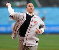 April 3, 2008: David Pereira, CFO of the Greenville division of Fluor Corp. throws out the first pitch in recognition of the renaming of the field Fluor Field at the West End in Greenville, S.C. The stadium was renamed from West End Field before the start of the season.  Photo by: Tom Priddy/Four Seam Images