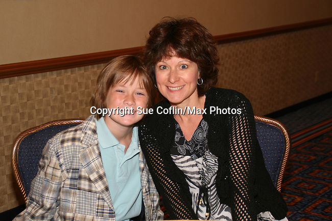 OLTL's Austin Williams and his mom at the  One Life To Live Fan Club Luncheon on August 16, 2008 at the New York Marriott Marquis, New York, New York.  (Photo by Sue Coflin/Max Photos)
