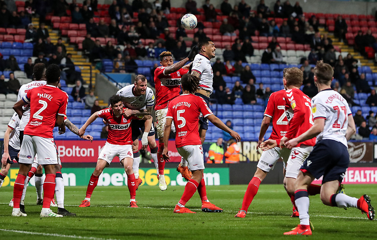 Bolton Wanderers' Josh Magennis competing in the penalty area<br /> <br /> Photographer Andrew Kearns/CameraSport<br /> <br /> The EFL Sky Bet Championship - Bolton Wanderers v Middlesbrough -Tuesday 9th April 2019 - University of Bolton Stadium - Bolton<br /> <br /> World Copyright © 2019 CameraSport. All rights reserved. 43 Linden Ave. Countesthorpe. Leicester. England. LE8 5PG - Tel: +44 (0) 116 277 4147 - admin@camerasport.com - www.camerasport.com