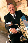 Businessman on his motorcycle