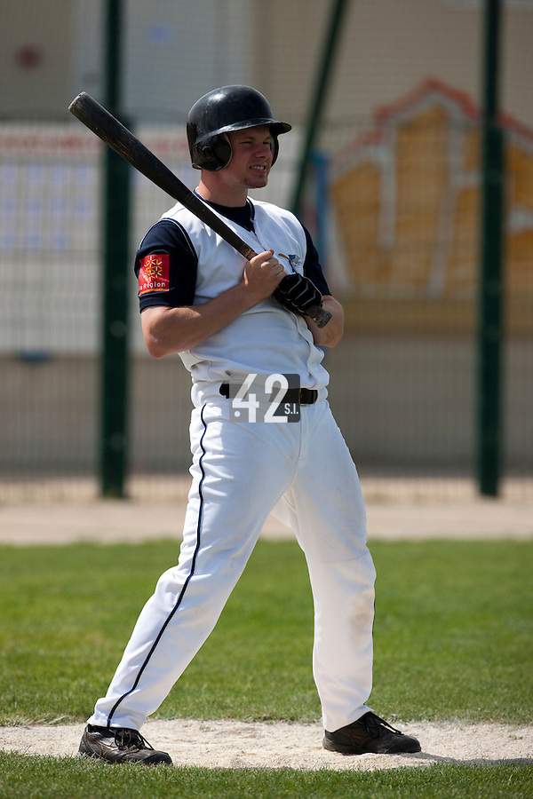 22 May 2009: Anthony Cros of Montpellier waits in the batter box during the 2009 challenge de France, a tournament with the best French baseball teams - all eight elite league clubs - to determine a spot in the European Cup next year, at Montpellier, France. Senart wins 7-1 over Montpellier.
