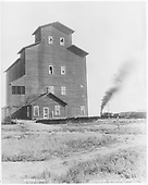 Mosca Mill-Elevator with siding and D&amp;RG freight train passing.<br /> D&amp;RG  Mosca, CO  Taken by Davis, O. T. - 1912