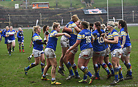 Picture by Anna Gowthorpe/SWpix.com - 15/04/2018 - Rugby League - Womens Super League - Bradford Bulls v Leeds Rhinos - Coral Windows Stadium, Bradford, England - Leeds Rhinos' celebrate victory