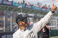 March 20, 2016: Lewis Hamilton (GBR) #44 from the Mercedes AMG Petronas team at the drivers' parade prior to the 2016 Australian Formula One Grand Prix at Albert Park, Melbourne, Australia. Photo Sydney Low