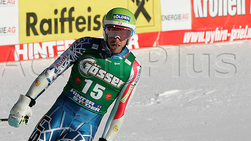Bode Miller of USA reacts at the finish of the Men's Super G race of FIS Audi Alpine World cup in Hinterstoder, Austria. Men's  Super G race of FIS Audi Alpine World cup in season 2010 / 2011 was held on Saturday, 5th of February 2011 on Hannes Trinkl race track at Hinterstoder, Austria. .
