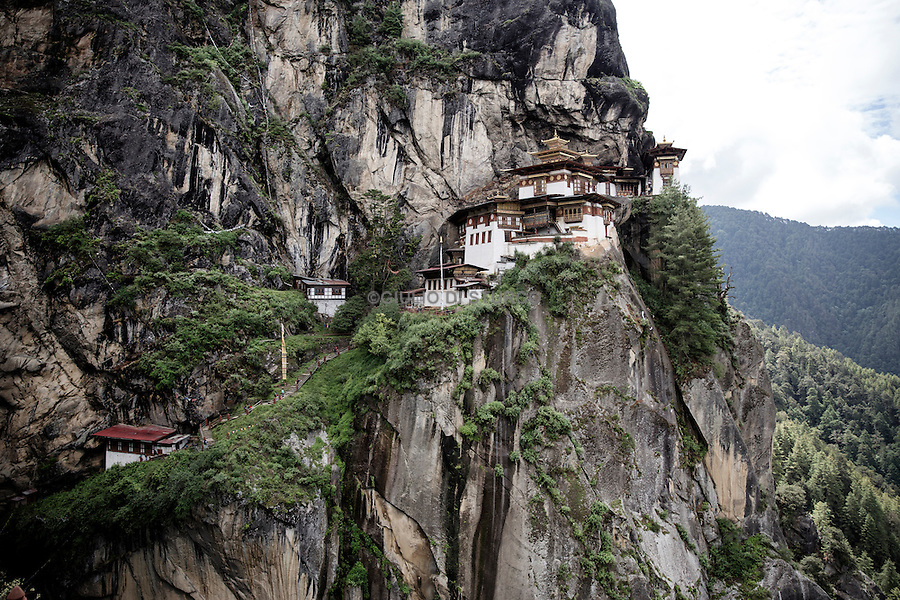 Tiger's Nest, a prominent Himalayan Buddhist sacred site and temple complex, located in the cliffside of the upper Paro valley, in Bhutan. A temple complex was first built in 1692. June 2016