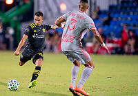 16th July 2020, Orlando, Florida, USA;  Columbus Crew midfielder Lucas Zelarrayan (10) shoots during the MLS Is Back Tournament between the Columbus Crew SC versus New York Red Bulls on July 16, 2020 at the ESPN Wide World of Sports, Orlando FL.